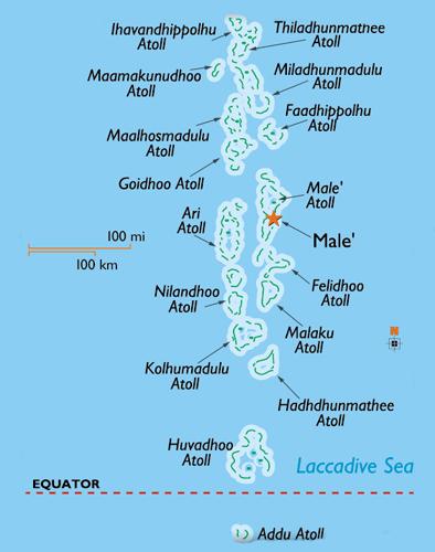 mappa arcipelago maldive